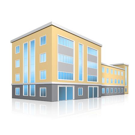 Foto de office building with entrance and reflection on white background - Imagen libre de derechos