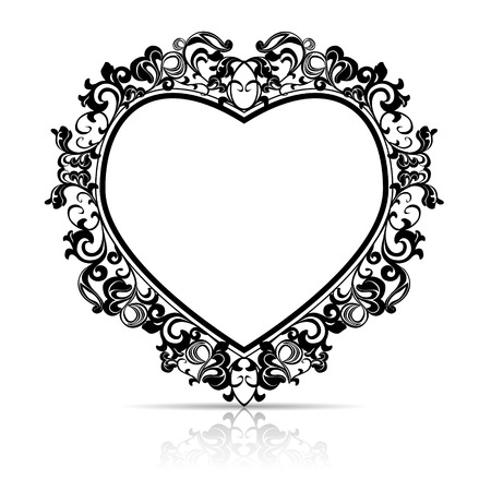 Illustration pour silhouette frame in the shape of heart for picture or photo with shadow on white background - image libre de droit