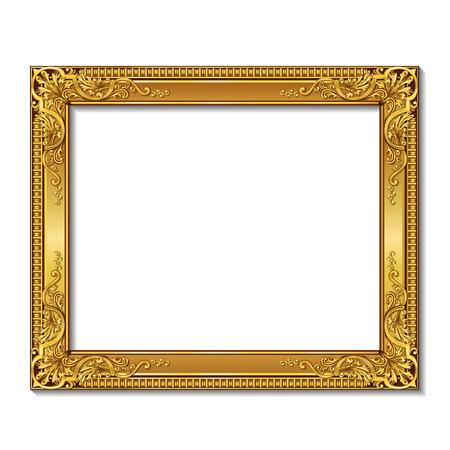 Illustration pour frame gold color with shadowon a white background - image libre de droit
