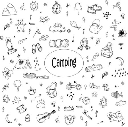 Illustration for Camping hand-drawn doodles vector icons - Royalty Free Image