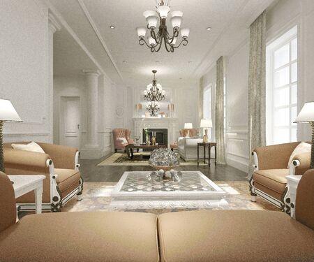 Photo pour 3d render of modern living room - image libre de droit