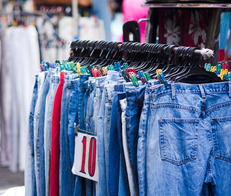 used jeans on sale in local market, philippines, asia.