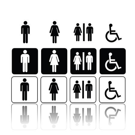 Ilustración de symbols for toilet, washroom, restroom, lavatory. - Imagen libre de derechos