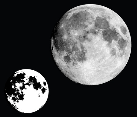 realistic moon in black and white.