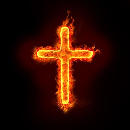 Photo pour a burning christian cross sign with flames, for religion concepts - image libre de droit