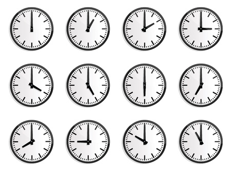 illustrations of wall clock for every hours, to indicate world international time.