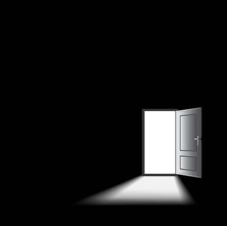 opened door with light coming in, mysterious concept.