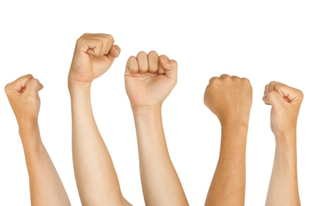 isolated fists, for protest, support, fighting concepts.
