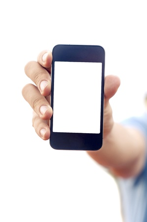 man hand is holding smartphone or phone to show what is on the phone  clipping path of the screen is in jpg