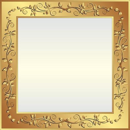Illustration pour bright background with golden frame and copy space - image libre de droit