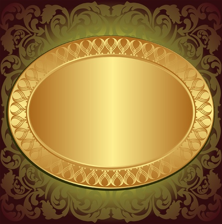 gold end brown background with floral ornaments and copy space