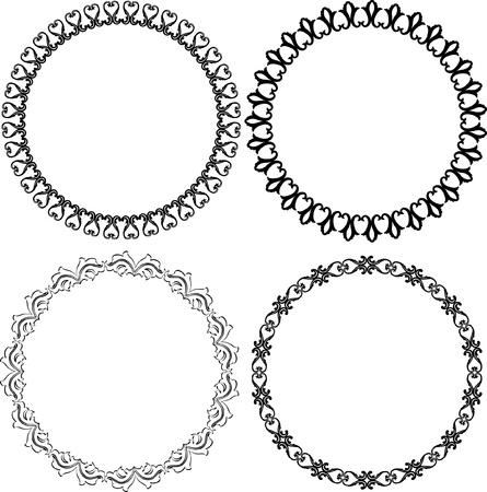 set of decorative round frames