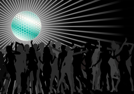 Disco Ball Over A Dance Party Crowd