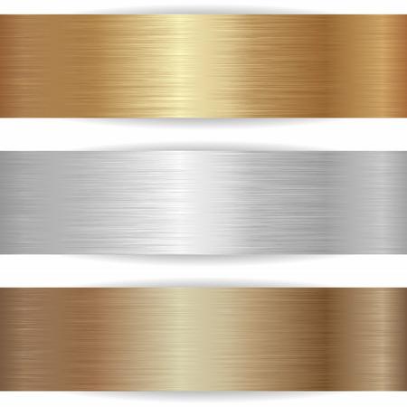 Illustration pour three metallic banners on white background - image libre de droit
