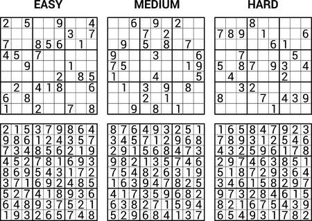 Illustration pour sudoku puzzle game with answers  vector illustration - image libre de droit