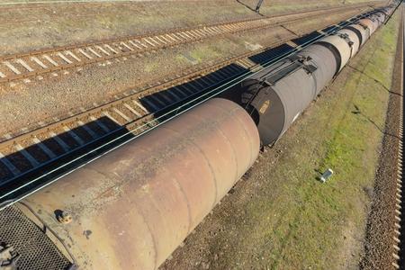 Photo pour Tank Cars And Railroad Tracks - image libre de droit