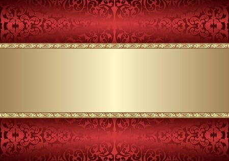 Illustration pour decorative background with old-fashined pattern and golden frame - image libre de droit