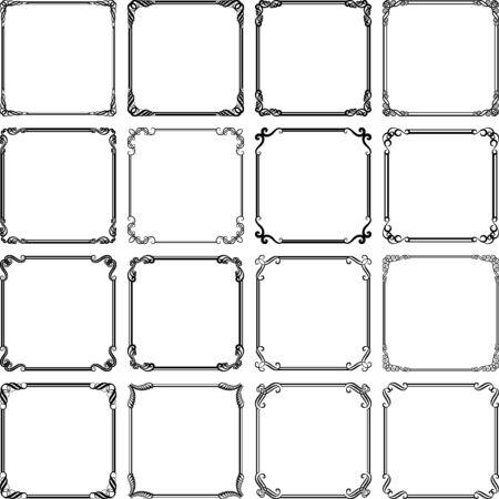 Illustration pour set of isolated vintage frames  - image libre de droit