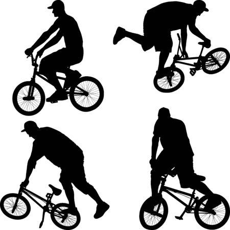 Illustration pour male doing bike trick on BMX bicycle  - image libre de droit