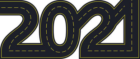 Illustration for numbers of 2021 year in shape road with yellow lines separating traffic directions - Royalty Free Image