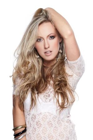 Portrait of beautiful female model on white background