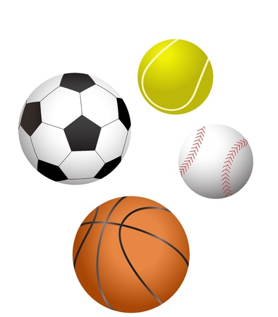 four major sports balls illustration