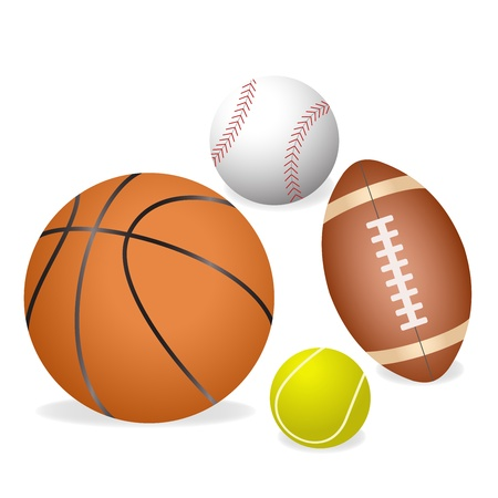 four major sports balls illustration