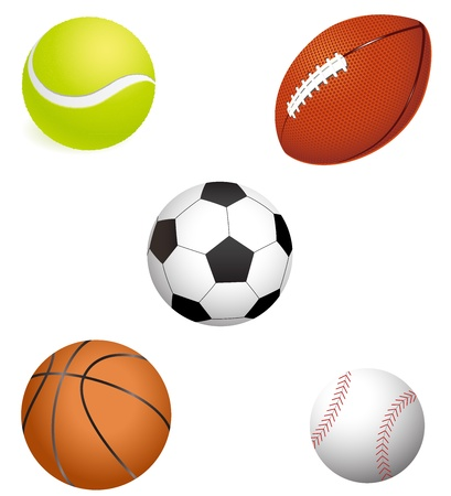 major sport balls illustration with white background
