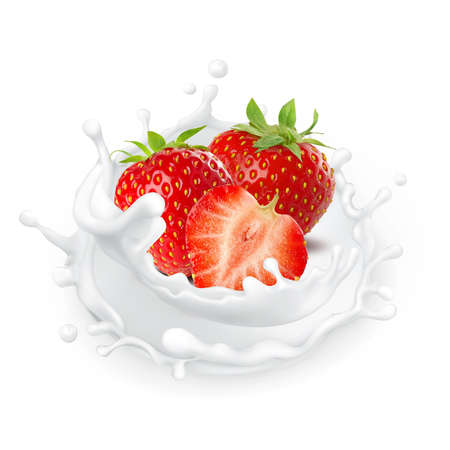 Photo for Milk splash isolated on white background strawberry yogurt food cream milkshake - Royalty Free Image
