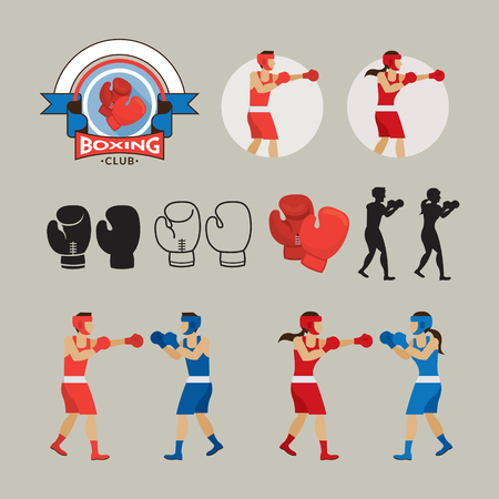 Boxing Graphic Elements, Boxer, Boxing Gloves, Badge, Icon
