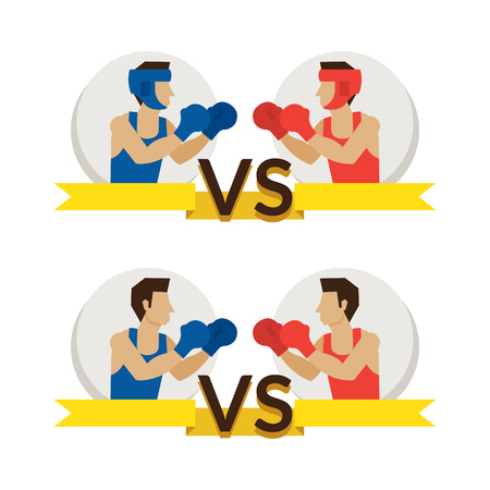 Boxing Athlete Fighting, Boxer, Versus Red and Blue Corner