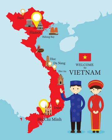 Vietnam Map and Landmarks with People in Traditional Clothing, Culture, Travel and Tourist Attraction