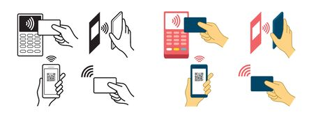 Contactless Payment Concept, Wireless, Symbols, Hand Holding Credit Card, Smart Card, Smart Watch, Smartphone, Scanning QR Code
