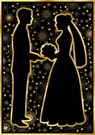 Gold silhouettes of the bride and groom on a black backgroundのイラスト素材