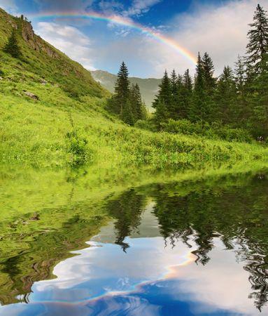 Foto de Landscape with forest and rainbow - Imagen libre de derechos