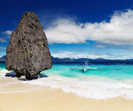 Tropical beach with bizarre rocks, El Nido, Philippines