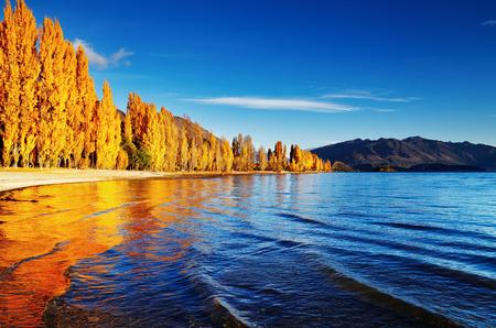 Autumn landscape, lake Wanaka, New Zealand