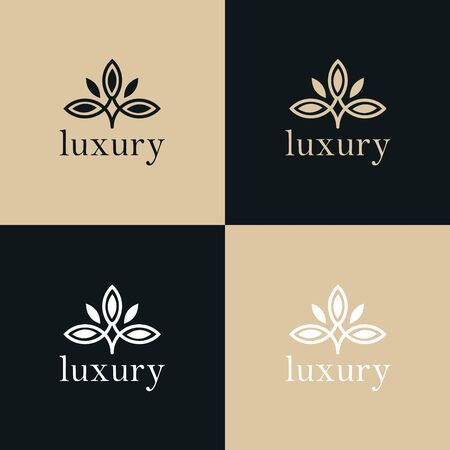 Illustration for Abstract tree leaf flower logo icon vector design. Universal creative premium symbol. Graceful jewel boutique vector sign. - Royalty Free Image