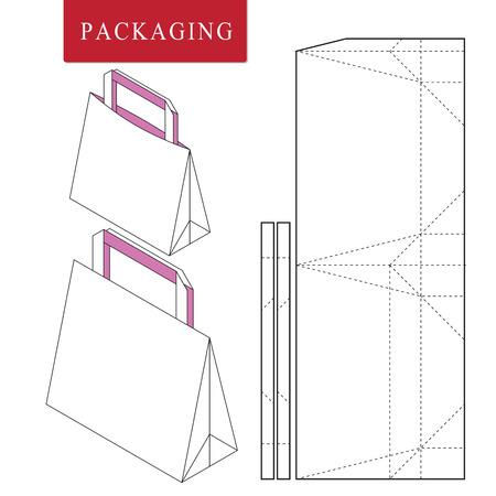Illustration pour Bag packaging template for wearing.Vector Illustration of packaging.Isolated White Retail Mock up. - image libre de droit