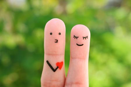 Photo pour Fingers art of happy couple. Concept of man confessing his love to woman. - image libre de droit