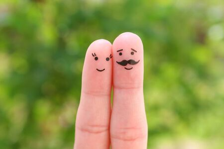 Photo for Fingers art of happy couple. Man and woman hug. - Royalty Free Image