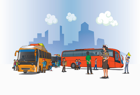 Illustration for A view of the bus terminal in Indonesian territory. - Royalty Free Image