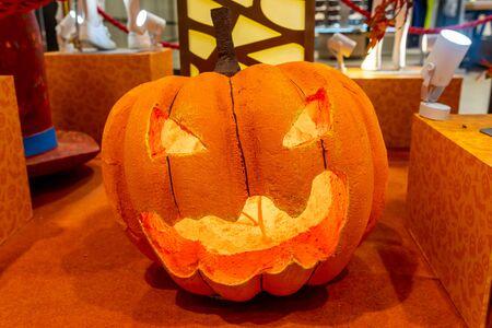Foto de Pumpkin jack o lantern with light for Halloween holiday decoration - Imagen libre de derechos