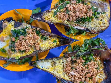 Grilled pen shell mixed with scallion and peanuts- Vietnamese food