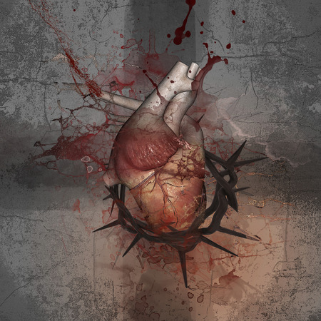 Crucifix. Heart with a crown of thorns. Push the limits.