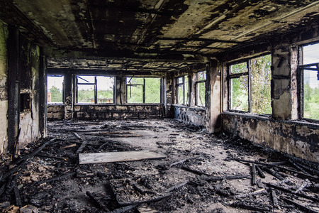 Photo for Burned interiors after fire in industrial or office building. War consequences concept. - Royalty Free Image