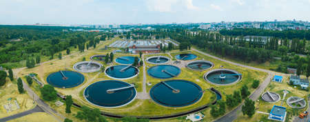 Photo for Modern sewage treatment plant, aerial view from drone - Royalty Free Image