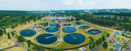Photo pour Modern sewage treatment plant, aerial view from drone. - image libre de droit