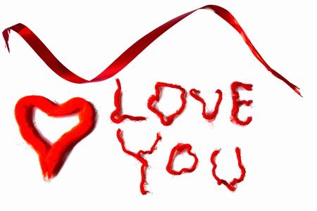 Foto für I love you background. Red on white. Valentine day background. Postcard. - Lizenzfreies Bild