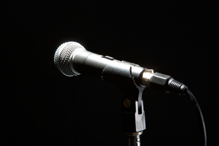 Photo pour Microphone isolated on black background. Music and concert concept. - image libre de droit